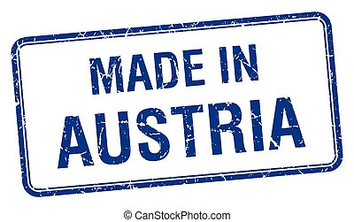 made in Austria blue square isolated stamp