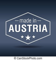 made in Austria hexagonal white vintage label