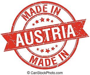 made in Austria red round vintage stamp