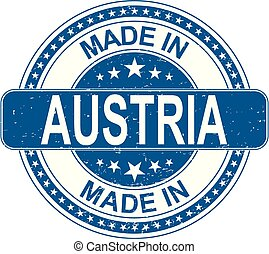 made in AUSTRIA rubber stamp internet sign on white background