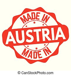Made in Austria sign or stamp on white background, vector...