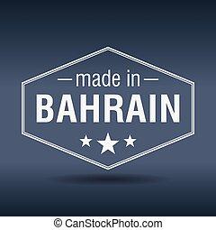 made in Bahrain hexagonal white vintage label