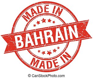 made in Bahrain red round vintage stamp