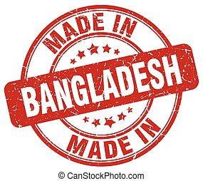made in Bangladesh red grunge round stamp