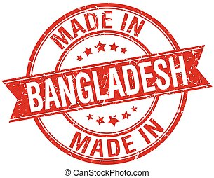 made in Bangladesh red round vintage stamp