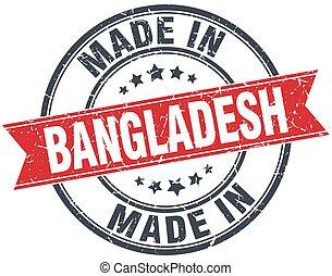 made in Bangladesh red round vintage stamp