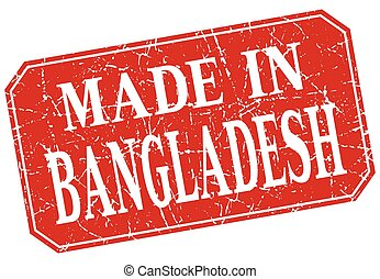 made in Bangladesh red square grunge stamp