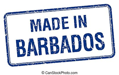 made in Barbados blue square isolated stamp