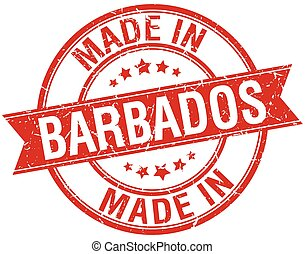 made in Barbados red round vintage stamp