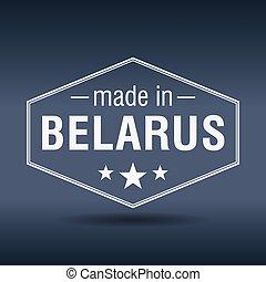 made in Belarus hexagonal white vintage label