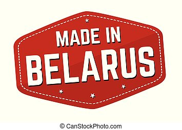 Made in Belarus label or sticker on white background, vector...