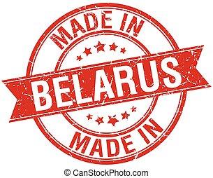 made in Belarus red round vintage stamp