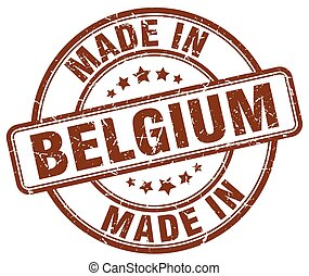 made in Belgium brown grunge round stamp