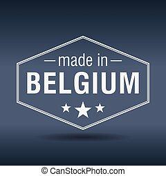 made in Belgium hexagonal white vintage label