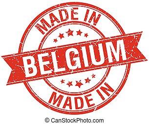 made in Belgium red round vintage stamp