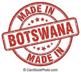 made in Botswana red grunge round stamp