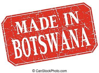 made in Botswana red square grunge stamp
