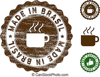 Made In Brasil Stamp Seal with Dust Effect
