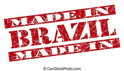 made in Brazil grunge red stamp