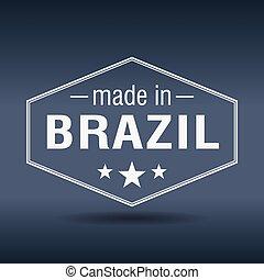 made in Brazil hexagonal white vintage label