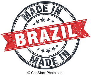 made in Brazil red round vintage stamp
