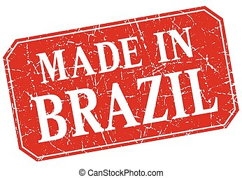 made in Brazil red square grunge stamp