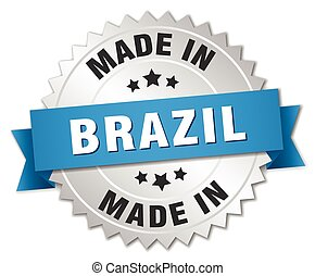 made in Brazil silver badge with blue ribbon