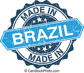 made in Brazil vintage stamp isolated on white background