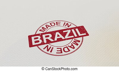 MADE IN BRAZIL wooden stamp conceptual animation. Alpha...
