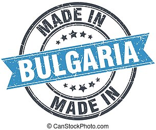made in Bulgaria blue round vintage stamp