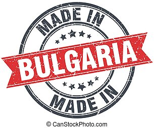 made in Bulgaria red round vintage stamp