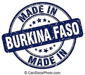 made in Burkina Faso blue grunge round stamp