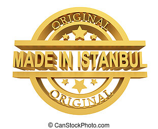 made in button with gold labels on white background, 3d illustration.