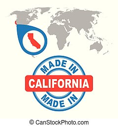 Made in California, America, USA stamp. World map with red country. Vector emblem in flat style on white background.