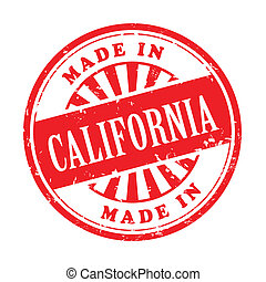 made in California grunge rubber stamp