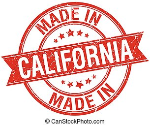 made in California red round vintage stamp