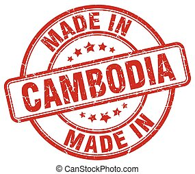 made in Cambodia red grunge round stamp