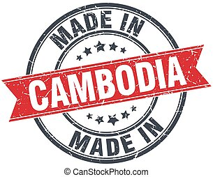 made in Cambodia red round vintage stamp