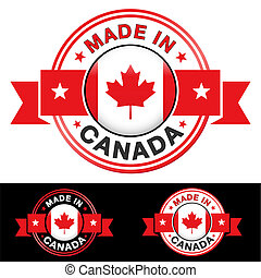 Made In Canada Badge - Made in Canada label and icon with...