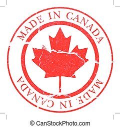 Vector image of a Made in Canada decal simulating a rubber stamp.