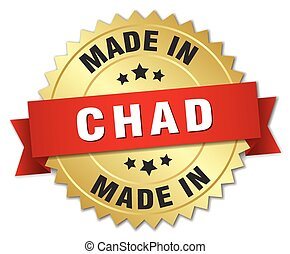made in Chad gold badge with red ribbon