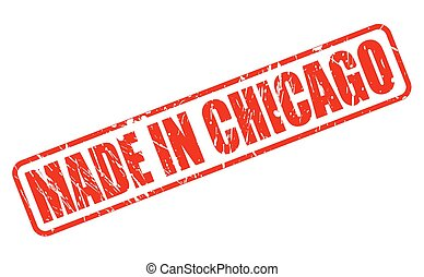 MADE IN CHICAGO RED STAMP TEXT ON WHITE