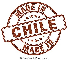 made in Chile brown grunge round stamp