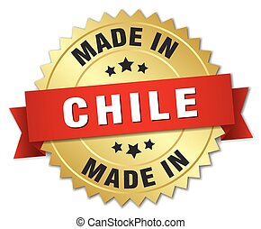 made in Chile gold badge with red ribbon