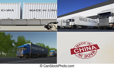 Made in China. Export or import conceptual montage animation...