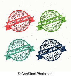 made in china, germany, canada, and japan rubber stamps set