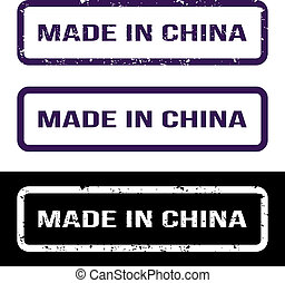 Made In China. Grunge Rubber Stamp Set. For Any Background. Vector illustration