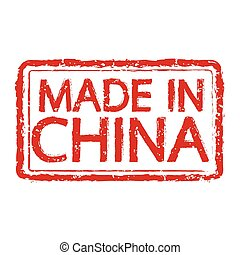 Made in CHINA stamp text Illustration