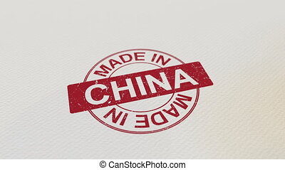 MADE IN CHINA wooden stamp conceptual animation. Alpha matte...