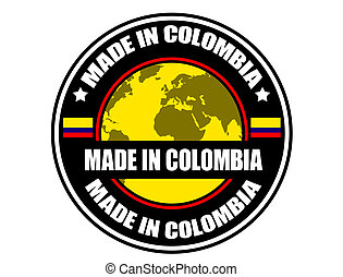 Made in Colombia label, vector illustration